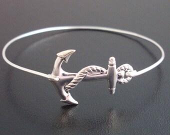 Nautical Anchor Bracelet, Anchor Charm Bangle, Summer Jewelry, Nautical Bracelet, Gift Under 25