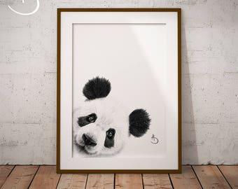 CUTE PEEKABOO PANDA Drawing download, Panda Art, Peekaboo Panda Print, Printable Panda Poster, Panda Decor, Peekaboo Animals, Peekaboo Panda