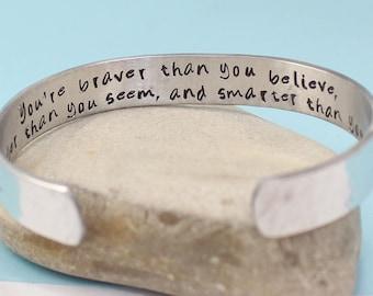 Personalized Bracelet- You Are Braver Than You Believe Secret Message Hand Stamped Bracelet- Personalized Bracelet