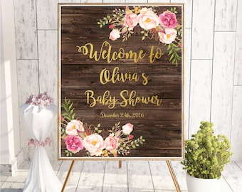 Baby Shower Sign, Baby Shower Welcome Sign, Baby Shower Decorations, Baby Shower Signs Printable, Rustic Baby Shower Signs, Wooden, Gold