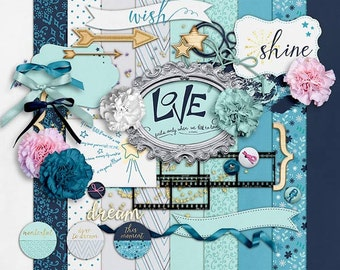 Reach Up- Digital Scrapbooking Kit - 10 Paper - 35 Plus Elements - Paper Size - 12 x 12 Inches
