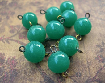 Vintage Japanese 8mm Glass Bead Charms Connectors JADE GREEN Double Loop lot of 10