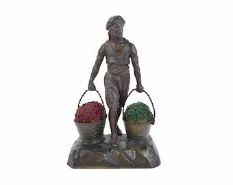 1920s German Spelter Bronze Lamp Arab Carrying Baskets of Czech Glass Flowers