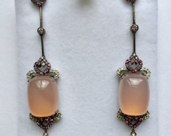 Pink Opal Chandelier Earrings