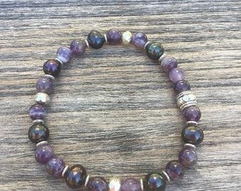 Amethyst and fresh water pearl beaded bracelet
