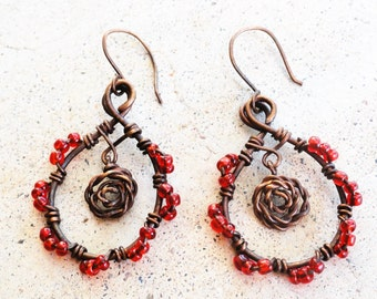 Rose Antiqued Copper Loop Earrings Wire-Wrapped Red Dangle Earrings By Distinctly Daisy