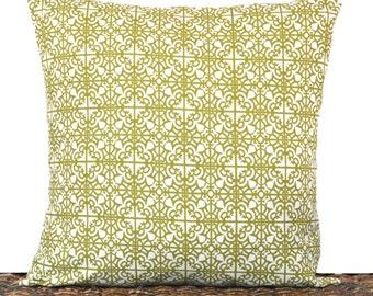 Green Lattice Pillow Cover Cushion Beige Trellis Geometric Pantone Greenery Decorative Repurposed 16x16