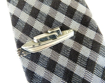 Boat Tie Bar Sterling Silver & Antiqued Brass Finishes Gifts For Men