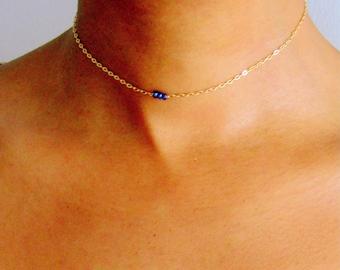 Sapphire Beaded Boho Choker, Silver, Rose Gold, Gold Gemstone Choker, September birthstone jewelry, dainty choker necklaces, something blue