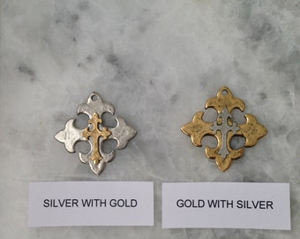 """Celtic Cross Pendant, Fleur de lis, 1.5"""", Large, NOLA, Pendant, Necklace, Hammered, Pewter"""