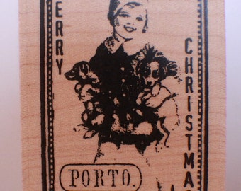 Stampington And Co Wooden Rubber Stamp Merry Christmas Holiday Girls with Puppy