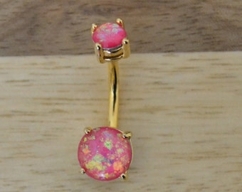 Pink Simulated Opal Round Shape Double Prong Set Gold Plated Belly Button Ring Navel Body Piercing Jewelry
