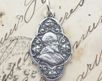 Sterling Silver St Francis de Sales Medal Necklace - Patron of writers & deaf people - Antique Replica