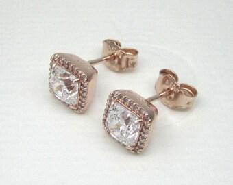 Authentic Pandora Rose Gold Timeless Elegance Earrings 280591CZ