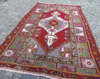 vintage rug , turkish rug, runner red rug, rug, modern decor rug, beni ourain, 215