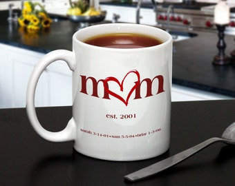 Personalized Mug for Mothers and Grandmothers : Red Heart Design with Est. Date and Names of Children