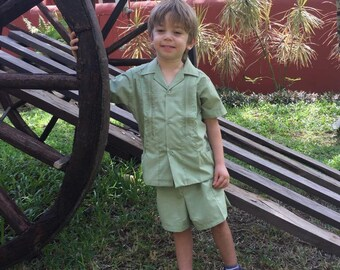 Beautiful Boys Mexican  Guayabera with shorts