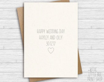 Personalised Wedding Day Card, Happy Wedding Day Card, Marriage card