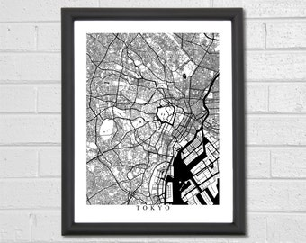 Tokyo Map Art - Map Print - Black and White Print - Japan - Personalized - Travel Gift - Housewarming Birthday Engagement
