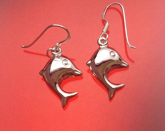 925 Solid Sterling Silver DOLPHIN  Earrings- Small- Oxidized- Dangle