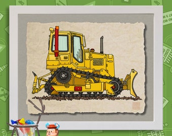 Kid Construction Art 3 Cog Bulldozer Cute dozer Whimsical digger print adds to kids room construction zone as 8x10 or 13x19 wall decor