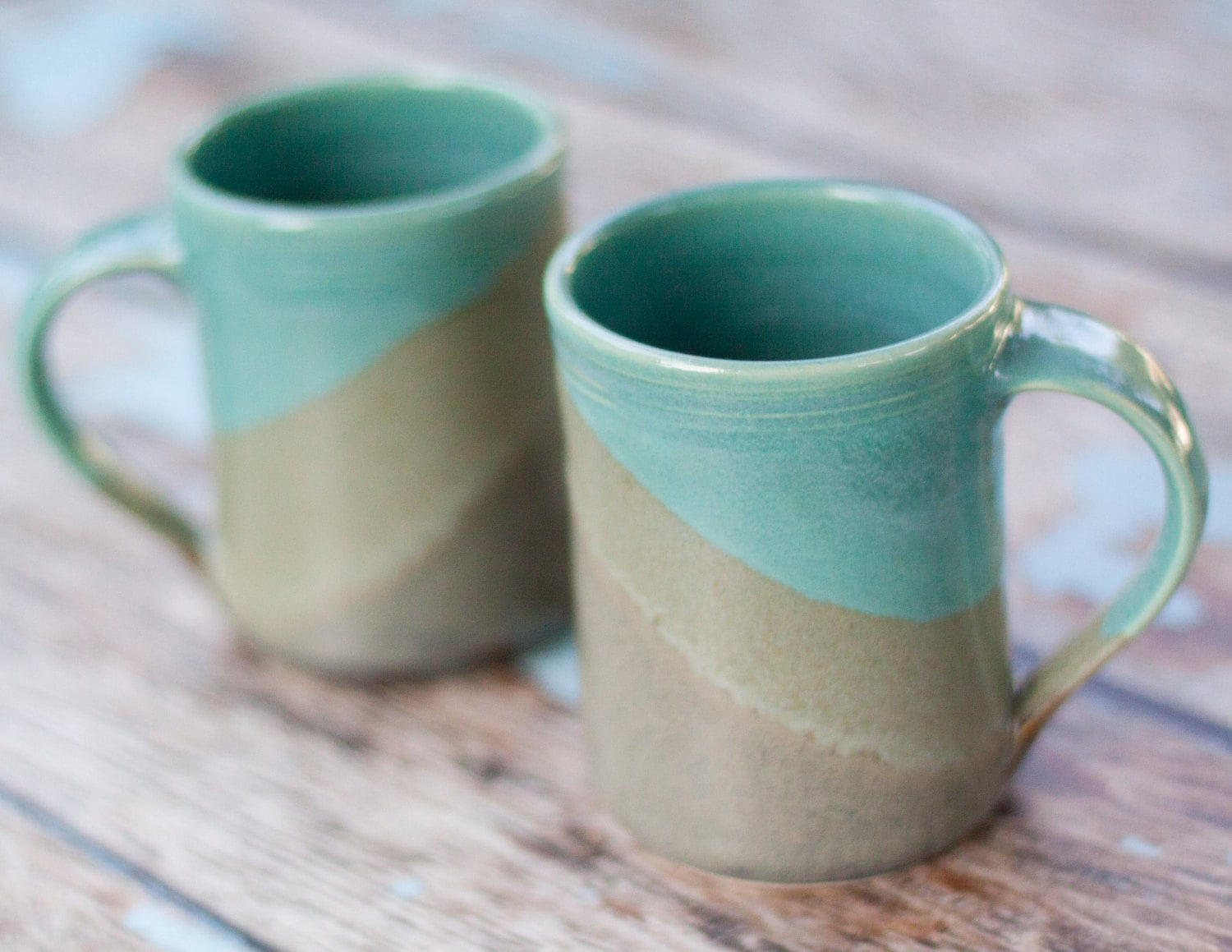 Set Of 2 Large Handmade Ceramic Mugs Slate And Aqua Blue
