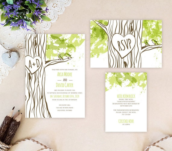 Tree Themed Wedding Invitation Packages Rustic Wedding