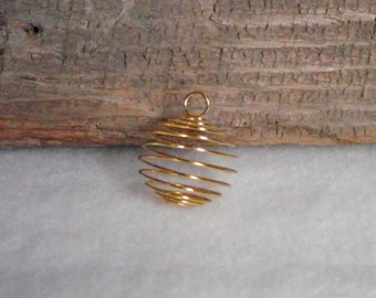 Large Gold Plated Wire Spiral Cages To Make Your Own Stone or Bead Necklace Pendant - 29mm x 24mm