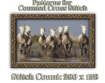 Mud-Stained Horse Gallop Cross Stitch Pattern Beautiful Herd of Horses Design Instant Download PdF Equestrian