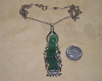 Vintage Carved Jade Asian Princess Pendant Necklace Whimsical 1950's Jewelry 60023