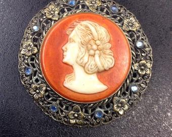 Czech Filigree cameo brooch