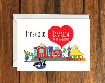 Let's Go To Jamaica For Our Anniversary Blank greeting card, Holiday Card, Gift Idea A6