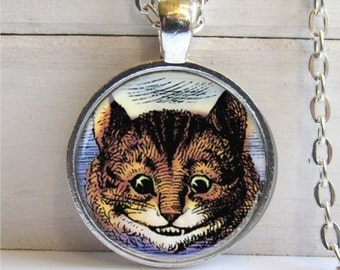 Cheshire Cat Pendant - Alice In Wonderland Art Charm Necklace
