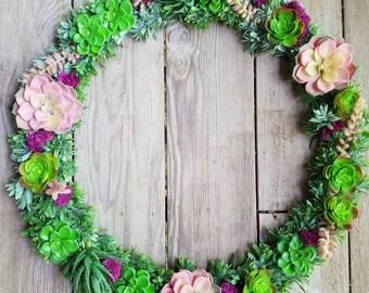 Faux Pink Succulent Wreath