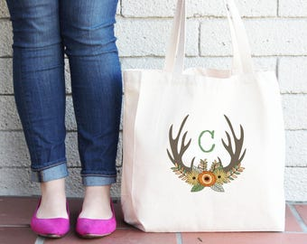 Thanksgiving Fall Flowers and Antler Personalized Tote Bag// Personalized Autumn Thanksgiving Tote Bag