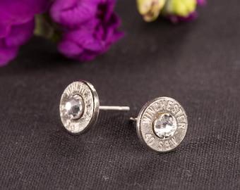 Bullet Casing Jewelry - Bullet Stud Earrings w/ Swarvoski Crystals (38 SPL / 357 / 40)