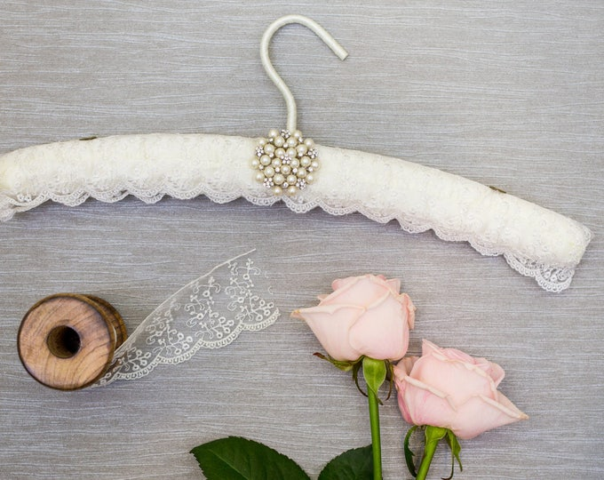 White Tulle Embroidered Lace Wedding Hanger with Pearl and Crystal Cluster Embellishment