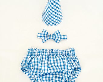 Gingham Cake Smash Photoshoot, Baby Nappy Cover & Bow Tie Set, Cake Smash Outfit, Blue Gingham Diaper Cover, Baby boy, Baby Bow Tie