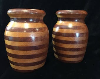 Segmented Turned Two-Tone Wooden Vases - Set of 2 - Mid-Century Modern - Signed and Dated - 1968 - Isabel by H. Kendall