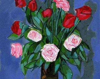ORIGINAL OIL still life flowers,  roses small still life, small fine art, modern painting, contemporary paintings, original oil painting