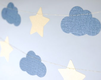 Shimmer Clouds and Stars Paper Garland, Nursery Decoration, Baby Shower