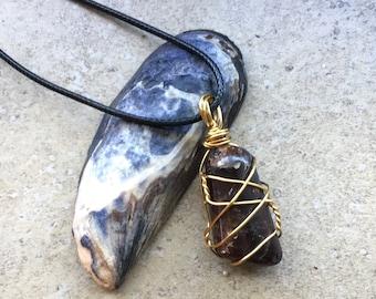Wire Wrapped Garnet Stone Pendant - Gemstone Necklace