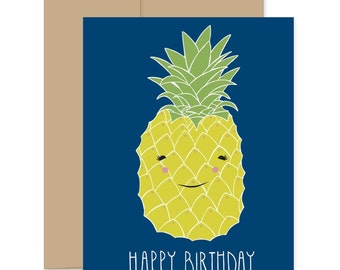 Happy Birthday Pineapple Card, Pineapple Birthday Card, Kid's Birthday Card, Fruit Birthday Card, Smiling Pineapple Card