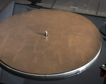 Turntable Mat, Leather Turntable Slipmat, Audiophile - Driftwood leather