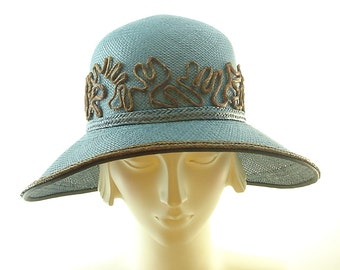 Teal Blue Straw Hat for Women -Vintage Fashion Panama Hat