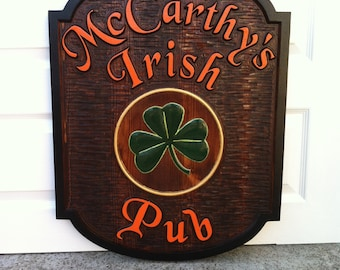Bar or Pub Sign - Personalized with shamrock or other image - Custom Carved Wood Sign