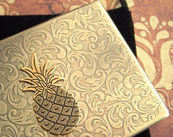 Brass Pineapple Cigarette Case Oversized Business Card Holder Gothic Victorian Steampunk Vintage Inspired Antiqued Gold Brass Tone Metal