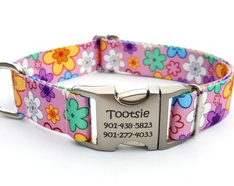 MAY FLOWERS Polyester Webbing Dog Collar with Laser Engraved Personalized Buckle