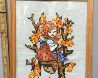 Beautiful Hummel Needlepoint Completed and Framed