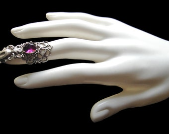 Claw Ring - Gothic - Vampire - Witchy - Purple - Amethyst - Goth - Dark - Silver - Finger - Armor - Goth - Halloween